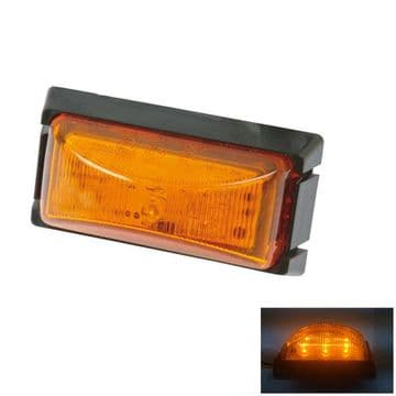 2 x 12v - 30v ORANGE SIDE MARKER 6 LED LIGHTS trailer lamps truck - 'E' approved